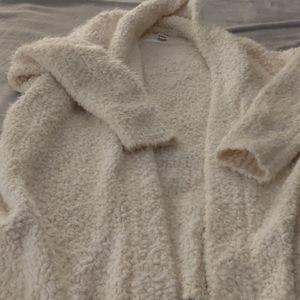 White, fuzzy John+Jenn (indigo) women's cardigan
